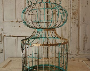 Huge antique spire birdcage rusty painted architectural style shabby cottage chic sculpture bird cage aqua w/ gold decor anita spero design