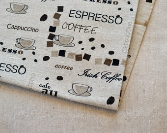 Linen coffee expresso fabric 19,68 x 59 inch