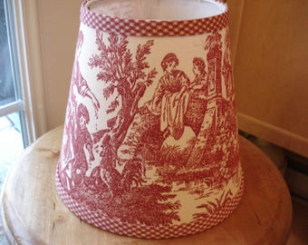 Red and white toile Lampshade french toile clip lampshade