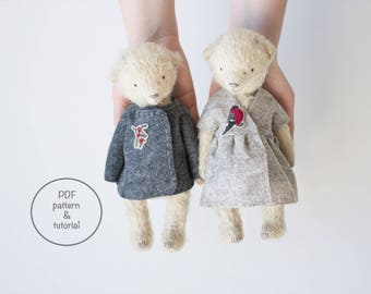 PDF Sewing Pattern & Tutorial Mohair Teddy Bear Bullfinch Dress Holly Jacket 9 Inches Stuffed Animal Pattern For Women Personalized Gift