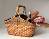 Vintage Picnic Basket, Woven Wicker and Splint, Rigid Handle Picnic Hamper, 1940s Outdoor Entertaining, Farmhouse Storage, Rustic Home Decor