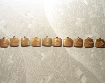 1 Set of Coppercoated Ten Commandments Charms