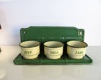 Vintage Dutch Enamel Kitchen Laundry Rack Green And Cream color Industrial Kitchen Home Decoration Soap Soda Sand Canisters Wall Rack 1940s