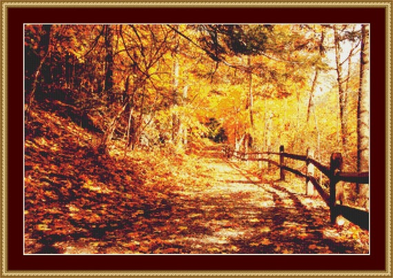 Autumn Path Cross Stitch Pattern /Digital PDF Files /Instant downloadable