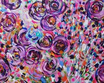 Abstract Art Abstract Painting Abstract Canvas Home Decor Canvas Original Art Original Modern Art Contemporary Art Nature Pink Purple
