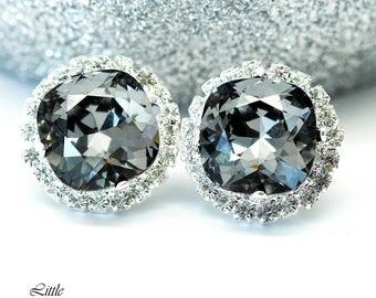Grey Earrings Swarovski Bridesmaid Earrings Silver Night Earrings Charcoal Grey Earrings Black Diamond Earrings Smoky Grey Earrings SN50S