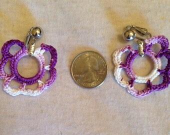 Purple violet crochet earrings