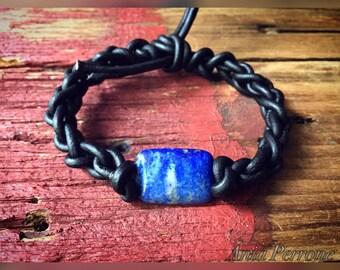 25% OFF SALE Men's Bracelets Handwoven Leather Gemstone Lapis Lazuli Agate Black Gray Blue Brown