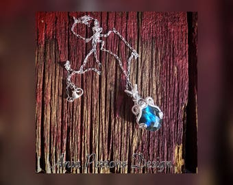 Blue Labradorite Pendant Necklace Sterling Silver Wire Wrapped Bohemian Fantasy Fairy