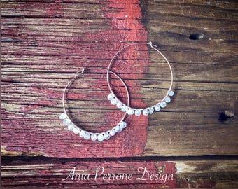 Rose Gold Hoop Earrings Raw Quartz Crystals 45mm Hoops Bohemian Earrings Boho Jewelry