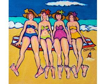 Girlfriend Art, Women Beach Art, Colorful Beach Folk Art, Coastal Art, Seashore, Happy Art, Original 6x6 - Four at the Shore - Korpita