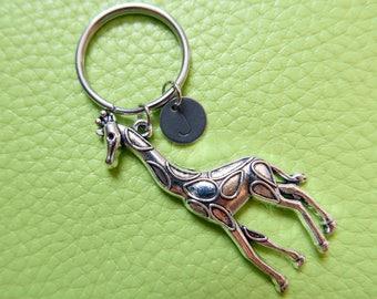 Giraffe initial stainless steel Keyring