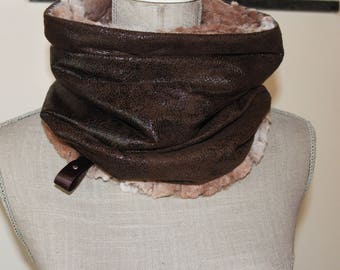 Suedine brown snood, brown scarf, Gift for her