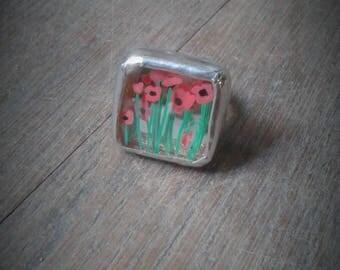 "Ring ""poppy"" - recycled glass"