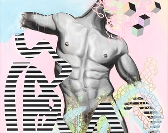 "Torso, 11""x14"" Art Print by Jamie Rice, Surreal  Vaporwave Wall Decor, Pastel Grunge, Non-traditional painting"