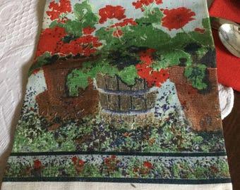 Vintage 1980's Kitchen Tea Towel/Hand/Refrigerator-Red Geranium Flower Pot Design-Unused