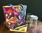 READY TO SHIP Zero Waste Mason Jar Carrier Bag, Pint 2 jar Jars to Go Batik print lunch tote cozy