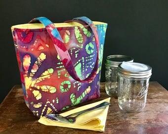 Zero Waste Mason Jar Carrier Bag, Pint 2 jar Jars to Go Batik print lunch tote cozy