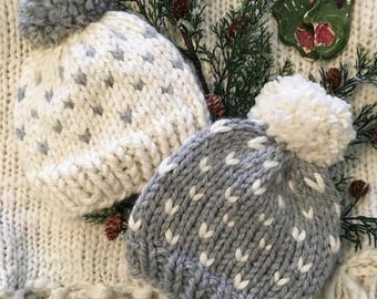 Chunky Knit Fair Isle Hat / Newborn Hat / Baby Hat / Toddler Hat / with Pom Pom