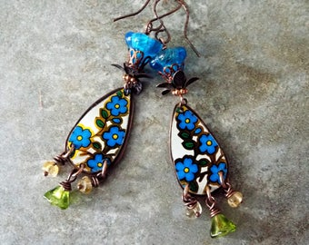 Boho Vintage Tin Artisan Copper and Czech Glass Flower Earrings