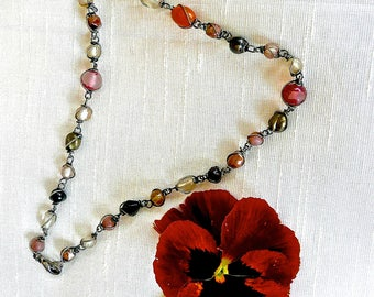 Antique Necklace - Hand Made Jewelry - Silver - Edwardian - Bib Beaded Necklace - Shabby Chic  - Hippie - Flappers - Wire Necklace