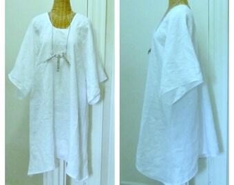 Beachcomber Linen Tunic Blouse or Dress Medium, Large, 1x, 2x, 3x, 4x 5x 6x White with Half Sleeves