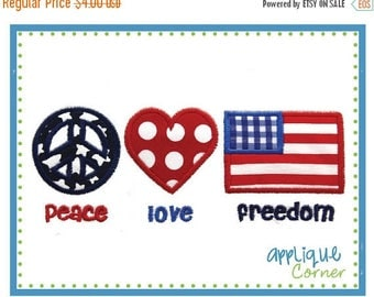 50% Off INSTANT DOWNLOAD Peace Love Freedom 4th of July applique design in digital format for embroidery machine by Applique Corner
