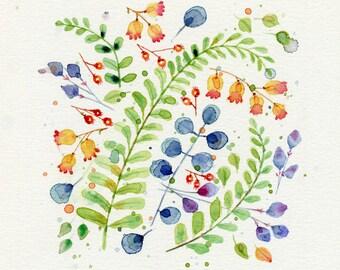 blue and orange floral motif original watercolor painting 12 x 12