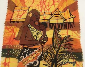 "Tahiti Mother and Child Island Screenprint Fabric Signed Island Fiber Art 6"" x 6"""