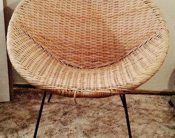 Vintage Rattan Scoop Chair With Iron Base