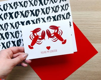Funny 'You're My Lobster' Card // Friends TV Show // Valentines // Birthday // Anniversary // Love // Wedding