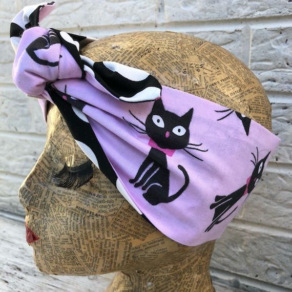 Pink Kitty Cat Headacarf Rockabilly Pinup 1950's Inspired