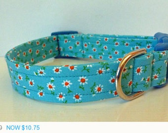 """Sale - 50% Off Dog Collar - Vintage Inspired Blue White & Orange Floral Dog Collar """"Betty"""" - Free Colored"""