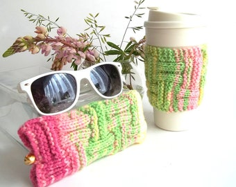 Set of 2. Lime and Pink Glasses Case and Coffee Cup Cozy. Wonderful Gift For You