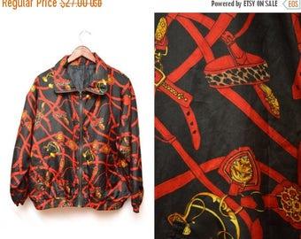 ON SALE 80s Buckle Equestrian Patterned Windbreaker Zip Up Jacket Women's XL Xxl Plus Size