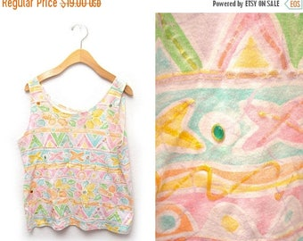 ON SALE 90s Pastel Embellished Tank Top Womens Large Puff Paint Rhinestones