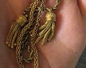 Hold for Lee! Victorian Watch Chain, Antique Gold Tassel Watch Chain Fob Holder for Women or Men