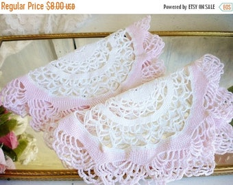 Sale Shabby Pink Crochet Wedding Dollies Set of 2 In Pink And White/Vintage Table Dollies/Rustic Wedding/Crafter Lot/Craft Projects/ As Is