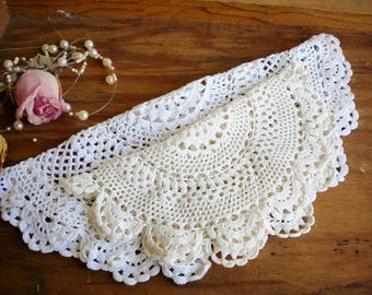shabby chic crochet wedding dollies set of 2 in white and table dollies