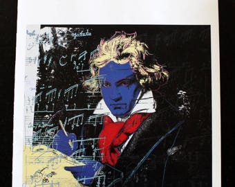 Andy Warhol's Beethoven 1987 book plate page 11 x 14 (image size 10x10) Museum of Modern Art book1990 unframed heavy stock paper vivid color