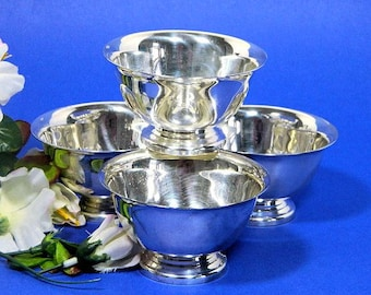 Four Reed and Barton Silverplate Sherbet Bowls Paul Revere Design