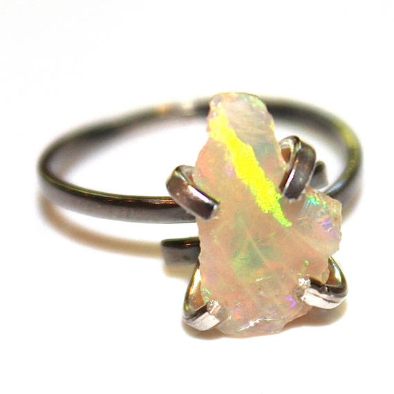 Small Jelly Opal Rustic Opal Ring in Mixed Metal