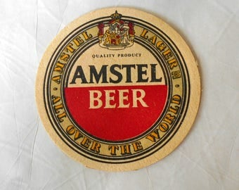 Vintage Amstel Beer Coaster Beer drip Mat All Over The World Lager Breweriana Double Sided
