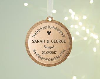 Engagement Christmas Decoration Rose Gold Personalised