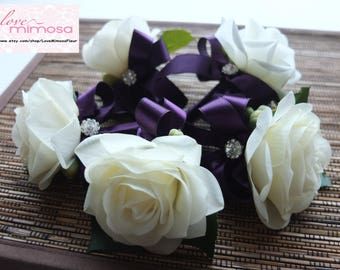 Men's Boutonniere- Ivory Rose with Royal Purple ribbon and rhinestone accent