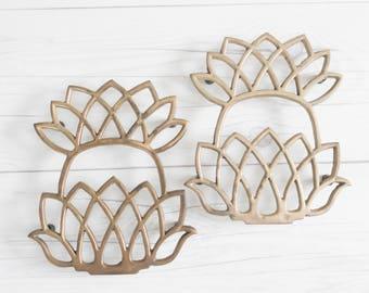 Vintage Pair of Brass Pineapple Trivets