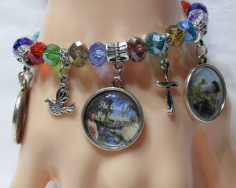 Handmade The Lord Is My Shepherd Bezel Dangle Charms Crystal Beaded Stretch Bracelet