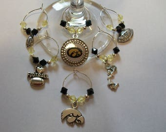 Set of 6 Iowa Hawkeyes Football Wine Charms