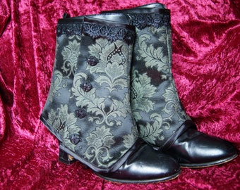 Damask Brocade spats black green Goth Steampunk Victorian Burlesque granny boot cover Obsidian Gothic
