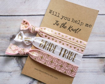 White/Pink/Gold  Bridesmaid's Gift 3 pcs set -Will you help me tie the knot- Bridesmaid Proposal Gift- Wedding/Bridesmaid/Gift/Wedding Party